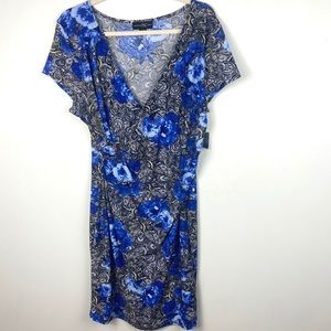 INC Faux Wrap Floral Midi Dress Buckle Blue Black